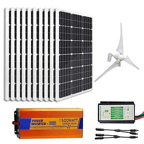 ECO-WORTHY 1400W Wind Solar Power Kit: 400W DC 12V/24V Wind Turbine Generator 3 Blade with Controller + 10pcs 100W Mono Solar Panels + 1500W 24V-110V Off Grid Inverter for Home, Boat, RV