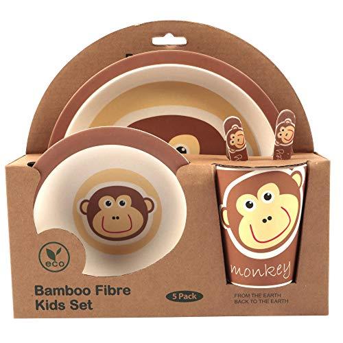 Bambus-Geschirr-Set für Kinder, runder Bambusteller, Kinder-Besteck, Bambus-Schale, Kinderbecher, umweltfreundlich, BPA-frei und spülmaschinenfest, 5-teilig löwe