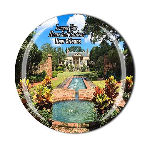 Longue Vue House and Gardens New Orleans USA 3D-Kühlschrankmagnet, Souvenir, Kristallglas, Magnet, Reise-Souvenir-Kollektion, Geschenk, Heimküchendekoration