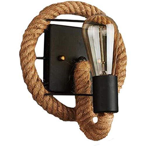 Lámpara de pared vintage retro, cuerda americana, lámpara industrial, personalidad, hierro, lámpara de pared, lámpara de cuerda de cáñamo, casquillo E27, iluminación de pared
