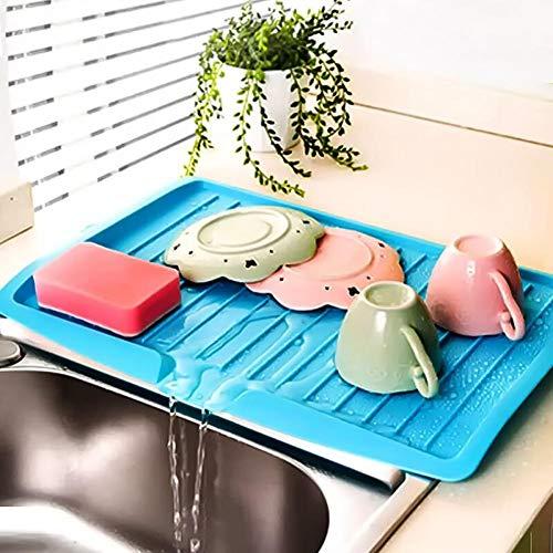 Desagüe De La Cocina Rack Bandeja De Goteo De Plástico Bandeja Escurridor Fregadero Grande Tendedero Encimera Organizador Tendedero para Los Platos (Color Al Azar)