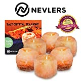 Nevlers Natural Handcrafted Himalayan Salt Tealight Candle Holders - 6 Pack Tea Light Holders - Great Enhancement to Your Home Decor - Put One in Every Room