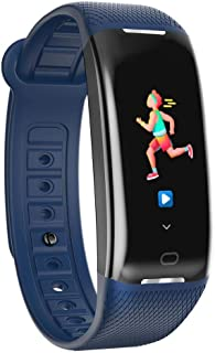 Dream-cool Pulsera inteligente Fitness Tracker ritmo cardíaco monitoreo de la presión arterial Bluetooth impermeable pulsera GPS podómetro paso contador de calorías mujeres hombres, azul