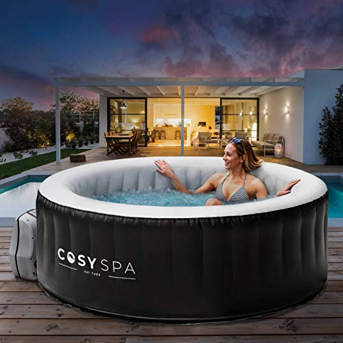 CosySpa Inflatable Hot Tub Spa – Outdoor Bubble Jacuzzi | 2-6 Person Capacity – Quick Heating | NEW 2021 Model (Hot Tub (4 Person) + Comfort Set)