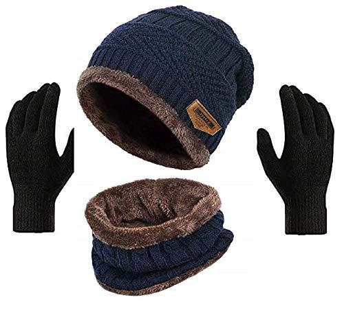 Winter Knit Beanie Cap Hat Neck Warmer Scarf and Woolen Gloves Set Skull Cap for Men Women/Winter Cap for Men (3 Piece) [Blue]
