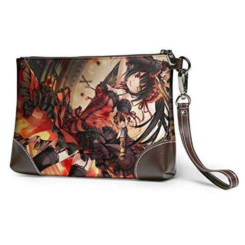 Date A Live Leather Clutch Purses Bag Phone Card Wallets Strap Zipper Soft Leather Wristlet Clutch Bags