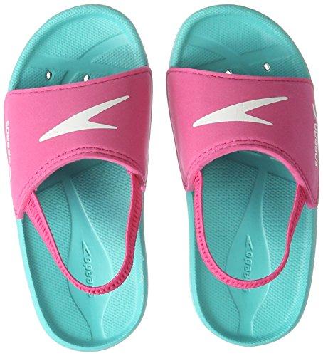 Speedo Unisex-Kinder Atami Sea Squad Slide If Dusch- & Badeschuhe, Pink (Bali Blue/Vegas Pink 000), 23 EU