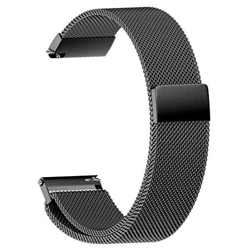 Correas de reloj Correas de reloj de acero inoxidable con bucle universal de lujo Correas de reloj de 18/20/22 mm Reemplazo de correa de reloj para Samsung Gear S3 (Color: Negro, Tamaño: 22 mm)