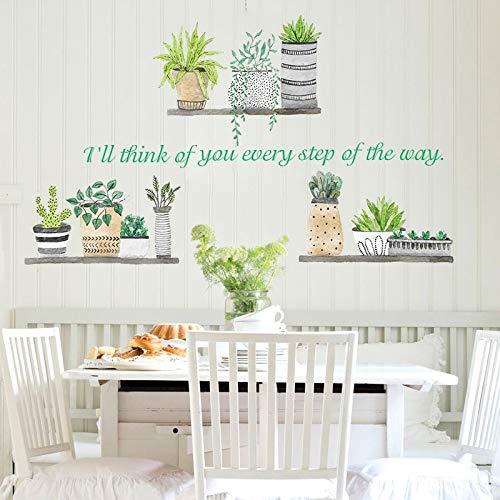 Pegatinas de Pared Pequeña Planta Verde Fresca en Maceta I Sala de Estar Balcón Porche Escalera Decoración Tienda de Flores Diseño de Aula B20