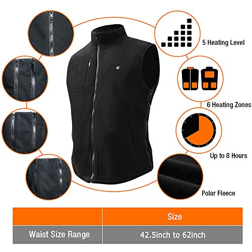 ARRIS Heated Vest Size Adjustable 7.4V Battery Electric Fleece Warm Vest 6 Heating Panels for Hiking Camping