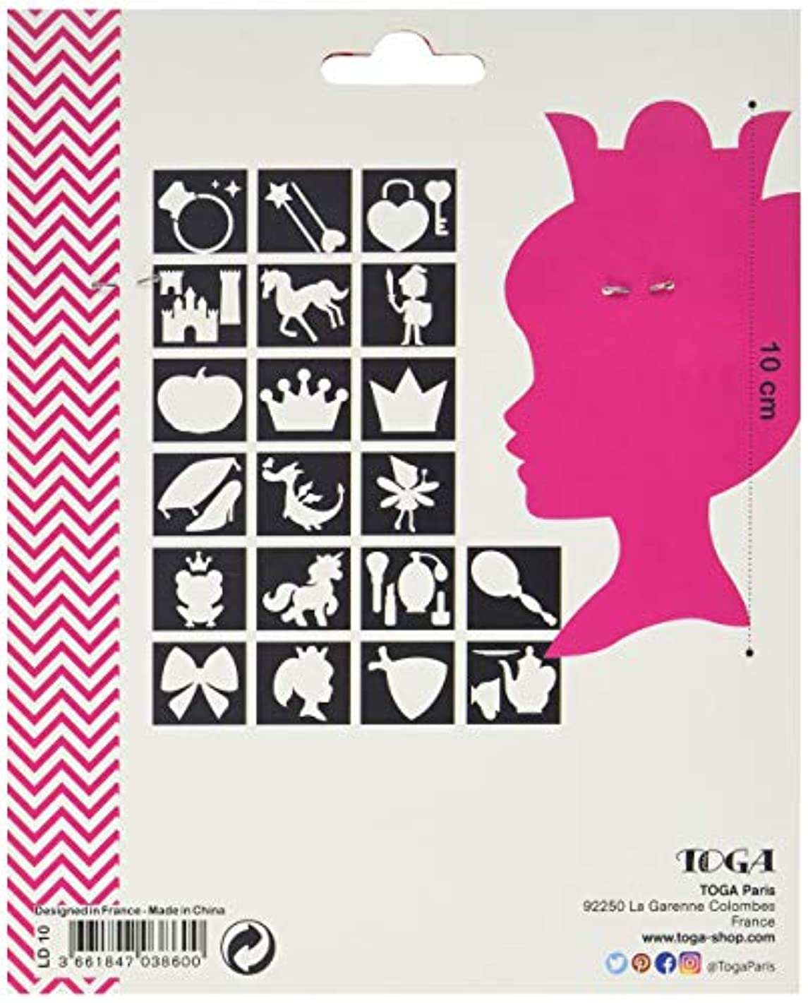 D.I.Y with Toga LD10?Princess Stencils Pack of 20?- Transparent Plastic - 12.5?x 12.5?x 0.3?cm