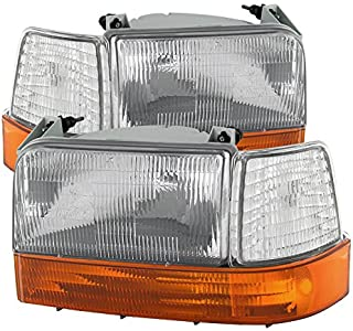 Ford F150/Bronco Headlights w/Corner Bumper 6pcs Amber Clear