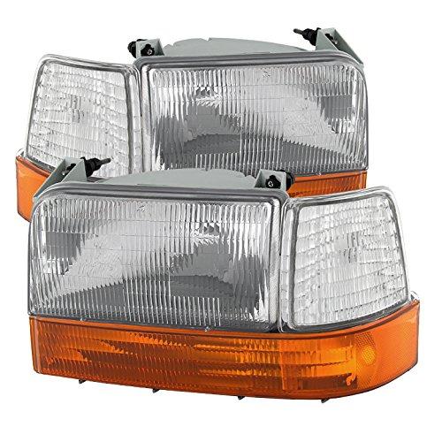 for 92-96 F150 Bronco Headlights w Corner Bumper 6pcs- Clear