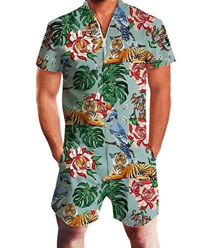 Fanient Mens Short Sleeve Romper Coveralls Elastic Waist Zipper Collar Jumpsuit Overalls S