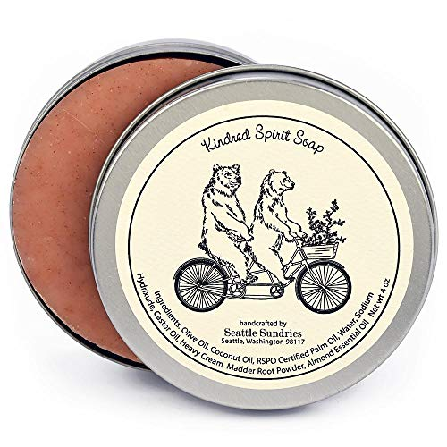 Kindred Spirit Soap-100% Natural Skin Care Bar. Scented with Almond Essential Oil. One 4 oz Bar in a Handy Travel Gift Tin. Great For Bicycle Bike Cycling Lovers.