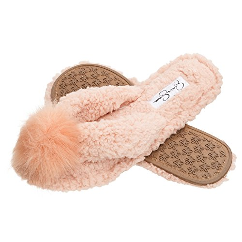Jessica Simpson Fluffy Pom Pom Thong House Slide On Slippers with Memory Foam (Size Large, Pink)