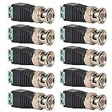 Conectores de balun de video BNC macho, adaptador de balun de video conector BNC macho habitual, conectores de video coaxiales de terminal de tornillo 10 piezas
