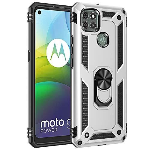Jierich para Motorola Moto G9 Power Funda,[Soporte] Fashion Design Heavy Duty Híbrida Rugged Armor Protección Resistente Impactos TPU + PC Funda para Motorola Moto G9 Power-Plata