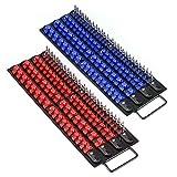Mayouko 80-Piece Portable Socket Organizer Tray, 2 Pcs Set, Blue & Red, Tools Organizer 1/4-Inch, 3/8-Inch, 1/2-Inch, Heavy Duty Socket Holder, Black Rails, Blue & Red Clips