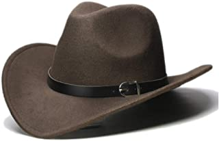 レディースメンズスタイリッシュパーソナリティカウボーイハット 女性用メンズウールポリエステルFedora帽子つば広カウボーイウエスタンキャップカウガール帽子黒革バンドヴィンテージカウボーイハット ユニセックスクラシックレトロビンテージカウガールキャップ (色 : Dark coffee, サイズ : 56-58CM)