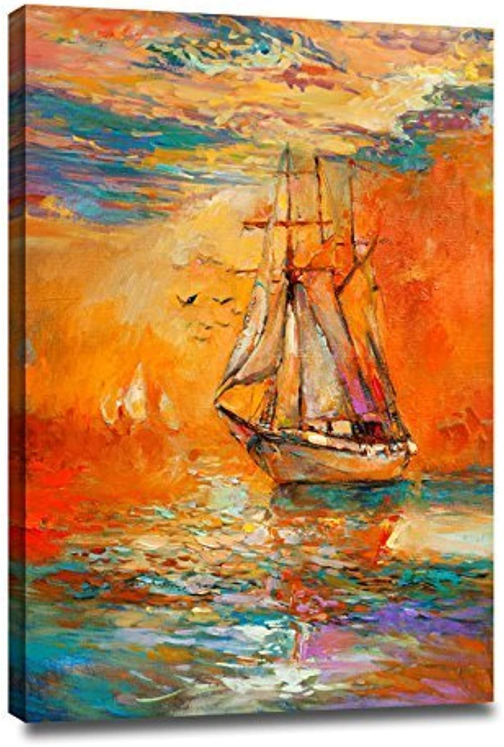 Donglin Art- The golden Sailboat, Framed Modern Abstract Seascape Oil Paintings on Canvas, Wall Art for Living Room, Office Decor. 2435 inch 6090 cm