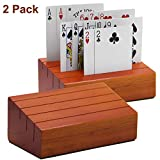 Juegoal Wooden Playing Cards Holder Rack Organizer for Kids Seniors, 2 Pack