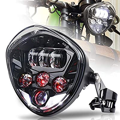 MOVOTOR 7inch Motorcycle Headlight with Bracket Clamp Red Background White DRL Hi/Low Beam for Universal Motorcycle Harley Honda Yamaha Triumph Cafe Racer