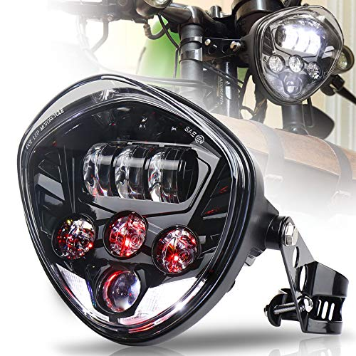 MOVOTOR Motorcycle Headlight 7inch with Bracket Clamp Red Background White DRL Hi/Low Beam for Universal Motorcycle Harley Honda Yamaha Triumph Cafe Racer
