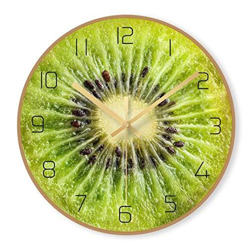 zhmku Reloj de Pared Sala de Estar Cocina Dormitorio Oficina Estudio Niños niños niñas Moderno nórdico Arte Simple Mudo Decoración del hogar 29.5cm Impresión de Frutas