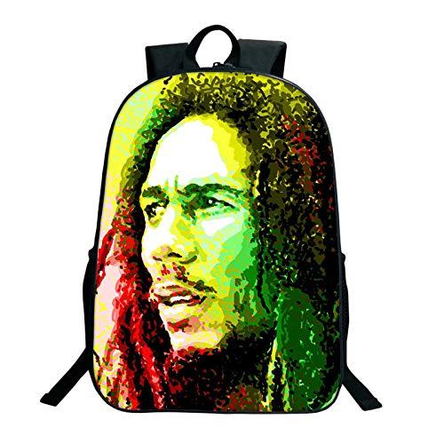 WONS Mochila,Colegio Bolso Estudiante Cartera,Rap Padrino Bob Marley Impreso Mochila Unisexo Grande Capacidad / A5 / 40×30×13cm
