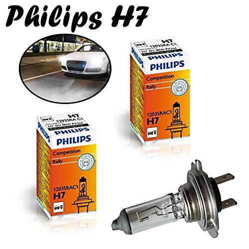 2x Philips H7 80W 12V 12035RAC1 Rally Vision +30% Super Bright hell Weiß High Tech Ersatz Halogen Birne für Scheinwerfer, Fernlicht, Abblendlicht, Nebelleuchte vorne - Off-Road