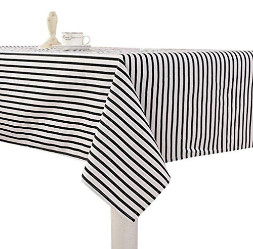 YOUJIA Nappe de Table en Coton Lin À Rayures Anti-tâche Rectangulaire Nappe pour Table Exterieur Decoration de Table (Noir #Vague rayée, 70 * 70cm)