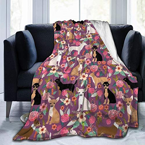 ANYA TOPSHOP Plush Flannel Fleece Throw, 50'x 40', Chihuahua Dog Breed Floral Pet Gifts Perfect Present Pattern Throw Blanket for Better Sleep Bedroom, Air Conditioning Blanket and Quality Easy Care