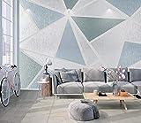 Fotomurales 3D Papel Pintado Pared Figura Geométrica Celeste Papel Pintado Fotográfico Mural Salón Dormitorio Decoración de Paredes Wallpaper 250cmx175cm