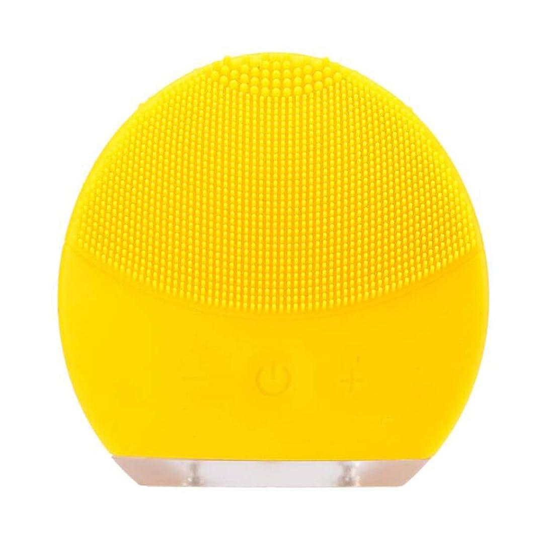 子羊後方にベーカリー超音波振動美容機器洗浄器、皮膚の毛穴を最小限に抑えるマイクロダーマブレーション毛穴、USB 充電と防水,Yellow