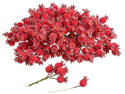 200 Beeren Deko gefrostet am Draht ø 1,5cm rot künstlich VBS Großhandelspackung
