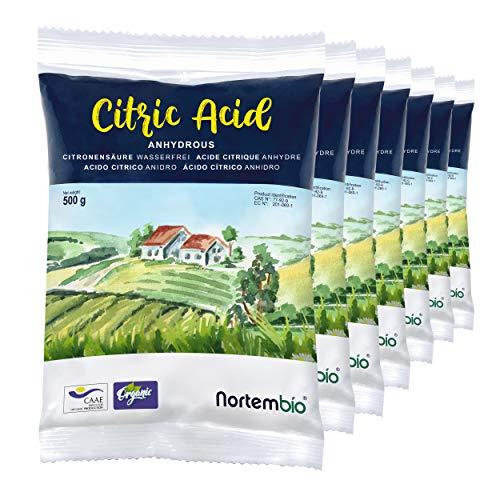 Nortembio Zitronensäure 3,5 Kg (7x500g). Wasserfreies Citronensäure Pulver, 100% Reine. Für Ökologischen Produktion. E-Book Inklusiv.