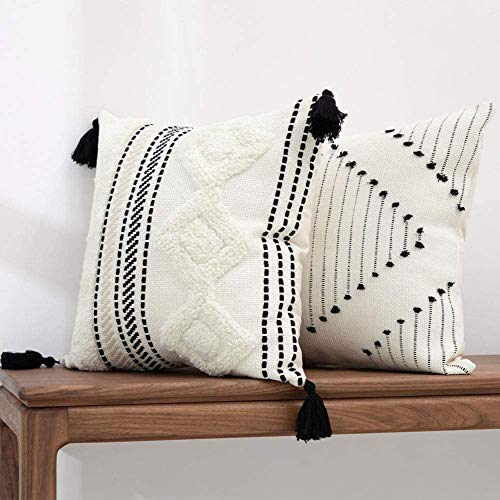 hi-home 2er Set Boho Kissenbezug, Dekorative Kissenhülle Dekokissen Baumwolle Kissenbezüge Sofakissen Kopfkissenbezug für Sofa Schlafzimmer Wohnzimmer Auto 50x50cm