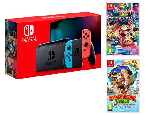 Nintendo Switch Rouge/Bleu Néon 32Go Pack + Mario Kart 8 Deluxe + Donkey Kong: Tropical Freeze