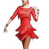 YOUMU Femme Robe de Danse Latine pour Salsa Cha Cha Tango Rumba Pratique (Rouge, EU XL(Tag 3XL)/ Taille 34.7-38.6')