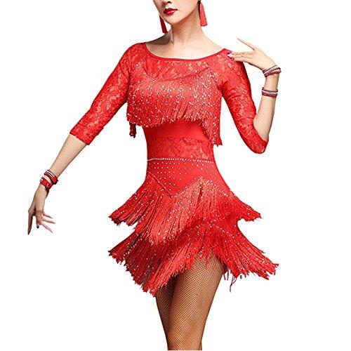 YM YOUMU Damen Tanzrock, Salsa ChaCha Tango Rumba Dance Dress mit Quasten,Tanzanzug Kostü (Rot, EU M (Tag XL))