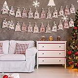 Millster Bolsas de Regalo con cordón para Navidad, Bolsas de Regalo, Calendario de Navidad, Bolsa de Yute, Bolsa de Almacenamiento para Dulces
