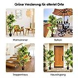 COSTWAY Zimmerpflanze Deko, Kunstpflanze grün, Dekopflanze künstlich, Kunstbaum Pflanzendekoration Innendekoration für Zuhause Garten Büro (160x19x19cm) - 9
