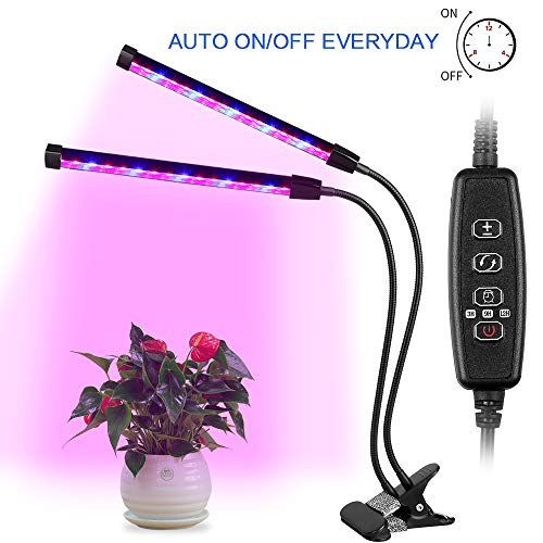 Luz de Planta AGM, Lámpara Planta Hidropónicas LED 24W 12LED Espectro Completo Crece Lluminación de Plantas, 3 Modos de temporizador 4/8 / 12H, 4 Niveles Regulables