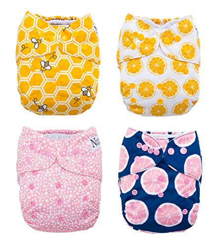 The Bee's Knees 4-Pack Cloth Pocket Diapers with 4 Bamboo Inserts