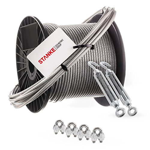 Seilwerk STANKE Rankhilfe PVC Edelstahldrahtseil ummantelt 20m V4A Edelstahlseil 3mm 7x7, 2x Spannschloss verzinkt M6 Haken+Öse, 4x Bügelformklemme V4A - SET 4
