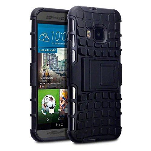 Coolest Gadgets ® HTC One, M9, robuste Tough Armour Aufsteckbare, gummierte Hartschale, Schwarz
