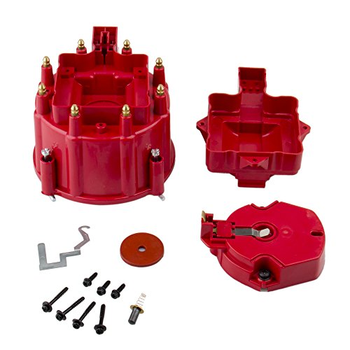 Big Autoparts HEI Distributor Cap Male Distributor Cap Rotor Kit Fit for CHEVY FORD Compatible with K549 SBC 283 305 307 327 350 400 BBC 454 396 427,Red