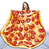 QIYI Pizza Blanket 2.0 Double Sided for Adult and Kids, Giant Funny Realistic Food Throw Blanket, Novelty Round Taco Blanket, Warm Soft Burritos Tortilla Blanket - 72' in Diameter, Prosciutto Pizza 2