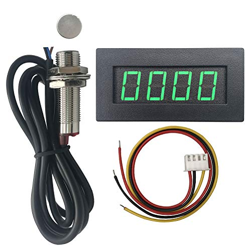 DIGITEN 4 Digital Green LED Tachometer RPM Speed Meter + Hall Proximity Switch Magnet Sensor NPN for Lathe Conveyor Belt